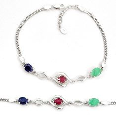 8.83cts natural red ruby sapphire emerald 925 silver bracelet a96887 c24951