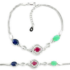 9.72cts natural red ruby sapphire emerald 925 silver tennis bracelet c19760