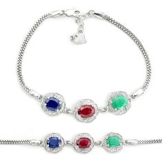 9.72cts natural red ruby sapphire emerald 925 sterling silver bracelet c19732