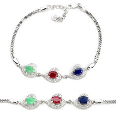 7.83cts natural red ruby sapphire emerald 925 sterling silver bracelet c19765