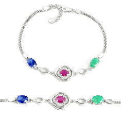 10.33cts natural red ruby sapphire emerald 925 sterling silver bracelet c19771