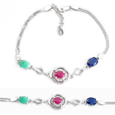 11.02cts natural red ruby sapphire emerald 925 sterling silver bracelet c19774