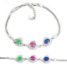Natural red ruby sapphire emerald topaz 925 silver tennis bracelet c19766