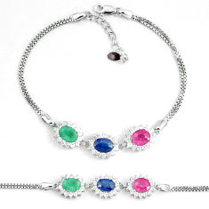 8.43cts natural red ruby sapphire emerald topaz silver tennis bracelet c19739