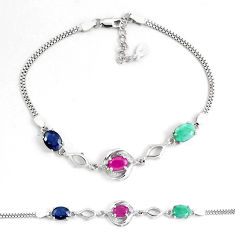 8.14cts natural red ruby sapphire emerald topaz silver tennis bracelet c19756