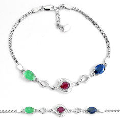 7.24cts natural red ruby sapphire emerald topaz silver tennis bracelet c19808