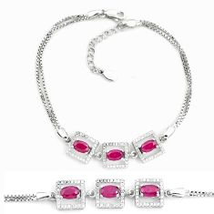 6.08cts natural red ruby topaz 925 sterling silver tennis bracelet c19681