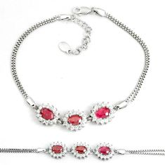 7.99cts natural red ruby topaz 925 sterling silver tennis bracelet c19796