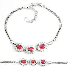 6.92cts natural red ruby topaz 925 sterling silver tennis bracelet c25949