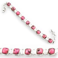 Clearance Sale- 30.19cts natural rhodonite in black manganese 925 silver tennis bracelet d44320
