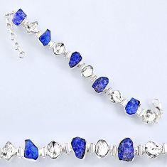 58.45cts natural tanzanite rough herkimer diamond 925 silver bracelet r61741