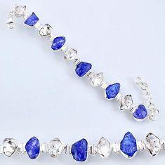 60.87cts natural tanzanite rough herkimer diamond 925 silver bracelet r61745