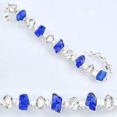 61.41cts natural tanzanite rough herkimer diamond 925 silver bracelet r61747