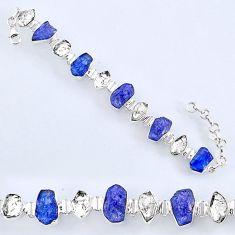 57.18cts natural tanzanite rough herkimer diamond 925 silver bracelet r61748