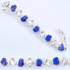 55.65cts natural tanzanite rough herkimer diamond 925 silver bracelet r61750