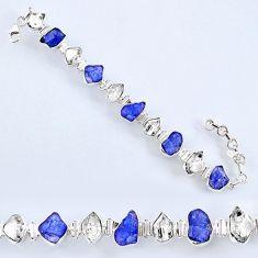 54.73cts natural tanzanite rough herkimer diamond 925 silver bracelet r61751