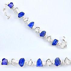 60.42cts natural tanzanite rough herkimer diamond 925 silver bracelet r61753