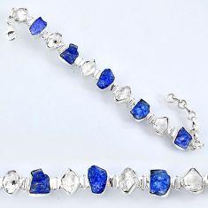 55.08cts natural tanzanite rough herkimer diamond 925 silver bracelet r61758
