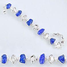 62.48cts natural tanzanite rough herkimer diamond 925 silver bracelet r61760