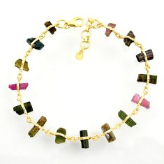 18.01cts natural tourmaline rough 925 silver gold tennis bracelet d47639