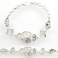 38.46cts natural white herkimer diamond 925 silver tennis bracelet r27566