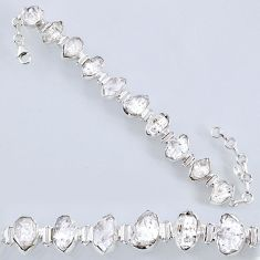50.47cts natural white herkimer diamond 925 silver tennis bracelet r61719