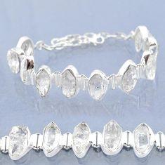47.72cts natural white herkimer diamond 925 silver tennis bracelet t6682