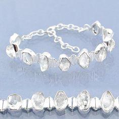 41.12cts natural white herkimer diamond 925 silver tennis bracelet t6688