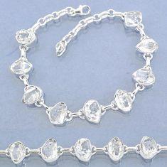 36.11cts natural white herkimer diamond 925 silver tennis bracelet t7759