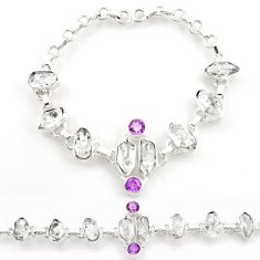 42.99cts natural white herkimer diamond amethyst silver tennis bracelet d45847