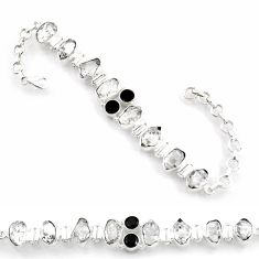 40.17cts natural white herkimer diamond onyx 925 silver tennis bracelet d45846