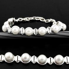 25.30cts natural white pearl 925 sterling silver tennis bracelet jewelry r38956