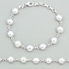 19.65cts natural white pearl 925 sterling silver tennis bracelet jewelry t19680