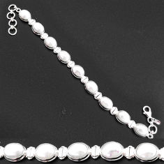 37.16cts natural white pearl 925 sterling silver tennis bracelet jewelry t2561