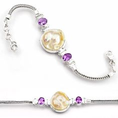 30.06cts natural white pearl amethyst 925 sterling silver tennis bracelet d45850
