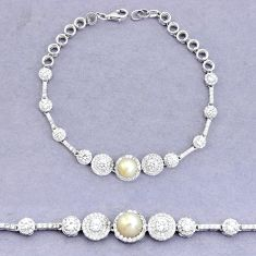 9.65cts natural white pearl topaz 925 sterling silver bracelet a96780 c24266
