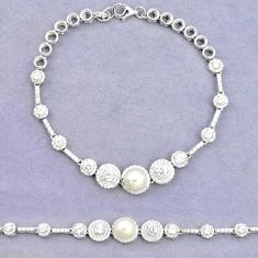 Natural white pearl topaz 925 sterling silver tennis bracelet jewelry c25935