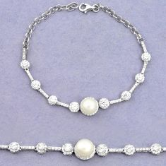 Natural white pearl topaz 925 sterling silver tennis bracelet jewelry c25936