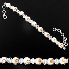 26.30cts natural white shiva eye 925 sterling silver bracelet jewelry r63596