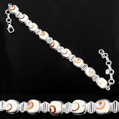 28.71cts natural white shiva eye 925 sterling silver bracelet jewelry r63598