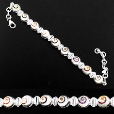 25.94cts natural white shiva eye 925 sterling silver bracelet jewelry r63600