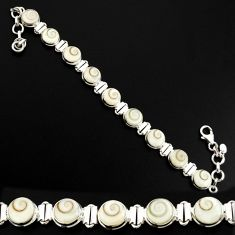 25.94cts natural white shiva eye 925 sterling silver tennis bracelet d44339