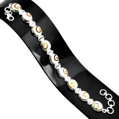34.97cts natural white shiva eye 925 sterling silver tennis bracelet r84353