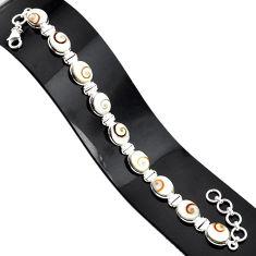 34.91cts natural white shiva eye 925 sterling silver tennis bracelet r84360