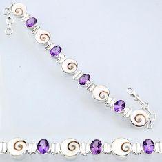 40.69cts natural white shiva eye amethyst 925 silver tennis bracelet r55048