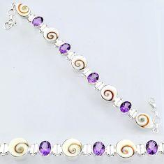 39.15cts natural white shiva eye amethyst 925 silver tennis bracelet r55049