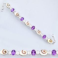 33.10cts natural white shiva eye amethyst 925 silver tennis bracelet r56551