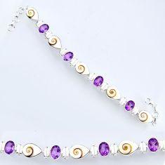 34.21cts natural white shiva eye amethyst 925 silver tennis bracelet r56557