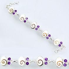 28.56cts natural white shiva eye amethyst 925 silver tennis bracelet r56560