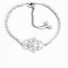 7.88cts natural white topaz 925 silver hand of god hamsa necklace a94895 c24261